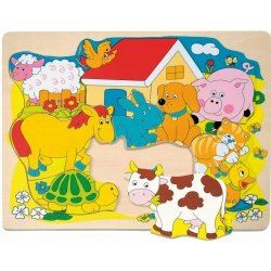 Puzzle na desce Veselá domácí zvířátka