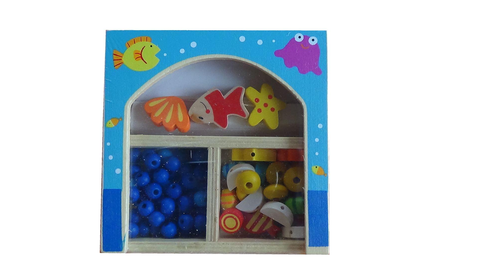 Dřevěné navlékací korále v krabičce - malé - Moře
