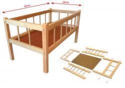DŘEVO Postýlka dřevěná pro panenku 50x28 cm