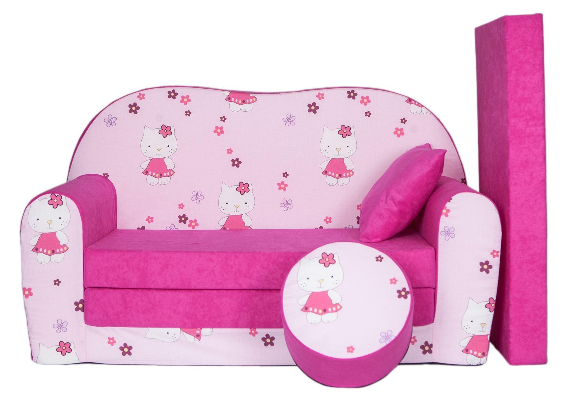 Rozkládací dětská pohovka s bobkem a polštářkem Hello Kitty - Růžová
