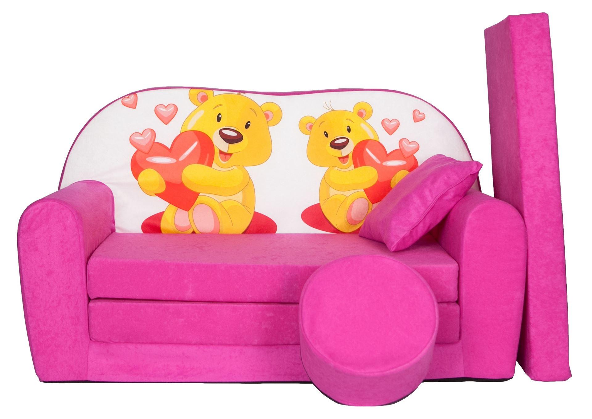 Rozkládací dětská pohovka s bobkem a polštářkem Méďové - Růžová