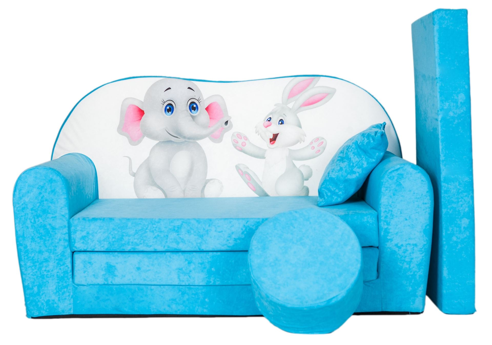 Rozkládací dětská pohovka s bobkem a polštářkem Slůně a zajíček - Růžová