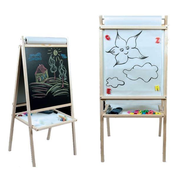 Dětská magnetická tabule 3v1 přírodní - výška 94 cm