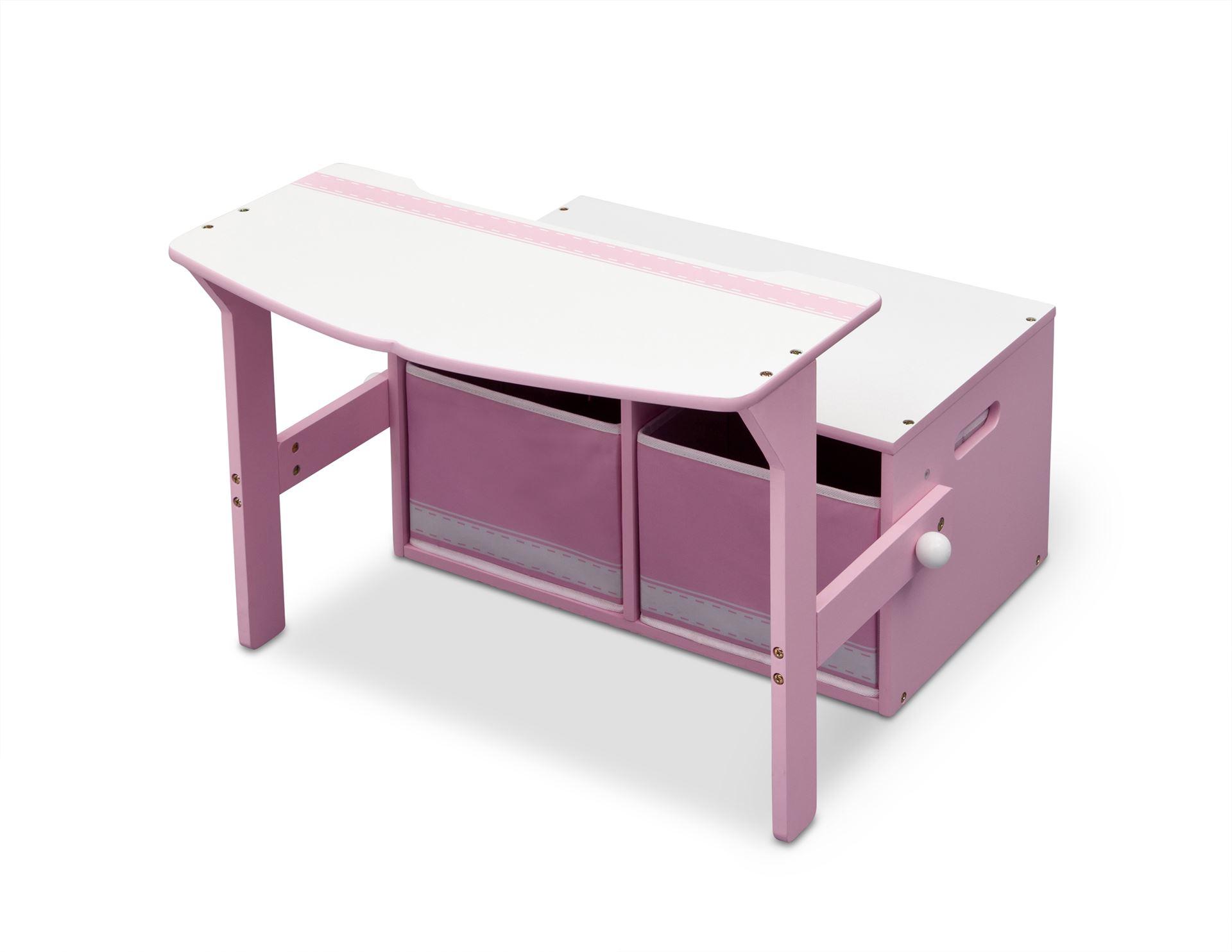 Dětská lavice s úložným prostorem růžová