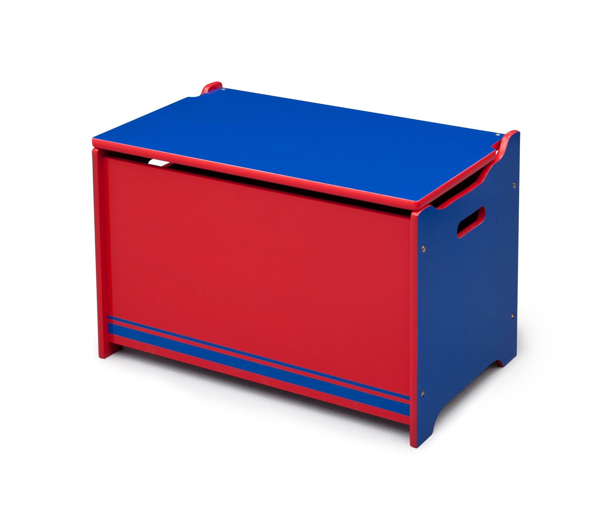 Dřevěná truhla na hračky modro - červená