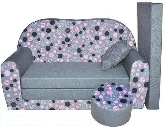 Rozkládací dětská pohovka s bobkem a polštářkem Kolečka a Kočičky - Růžová