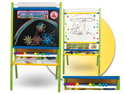 Dětská magnetická tabule 4v1 barevná - výška 116 cm