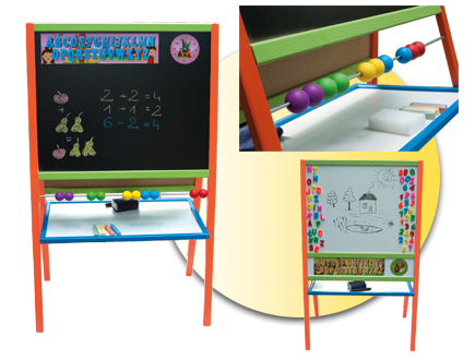 Dětská magnetická tabule 3v1 barevná - výška 109 cm