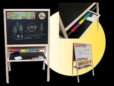 Dětská magnetická tabule 3v1 přírodní - výška 109 cm