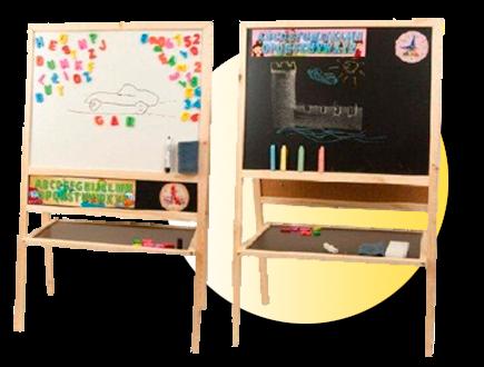 Dětská magnetická tabule 2v1 přírodní - výška 109 cm