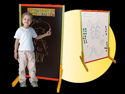 Dětská magnetická tabule 2v1 barevná - výška 111 cm