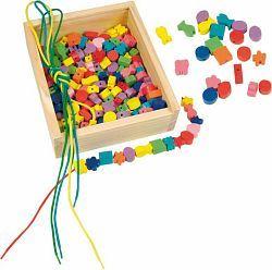 Dřevěná krabička - navlékací perle 200ks