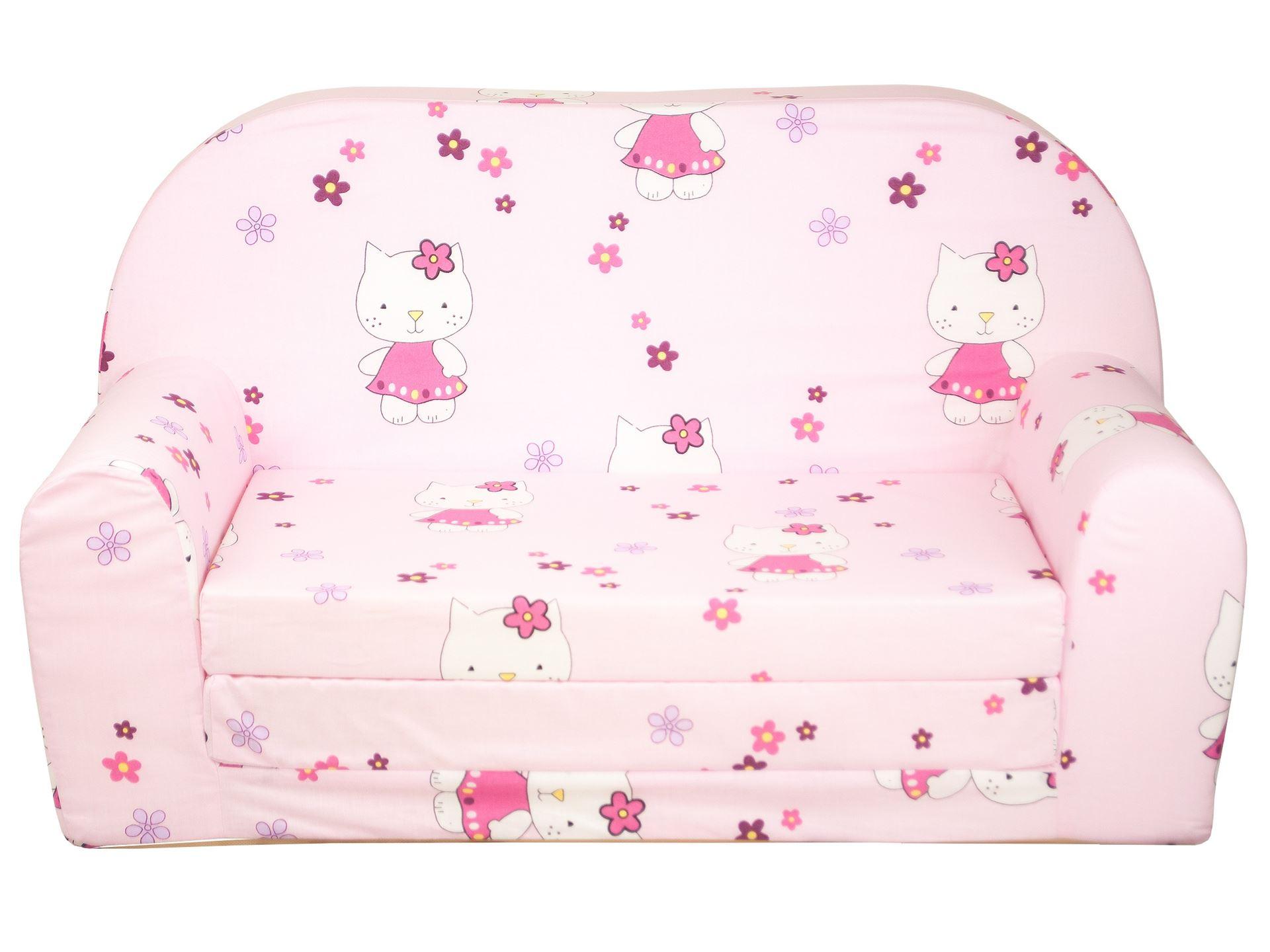 Rozkládací dětská mini pohovka Hello Kitty - Žlutá