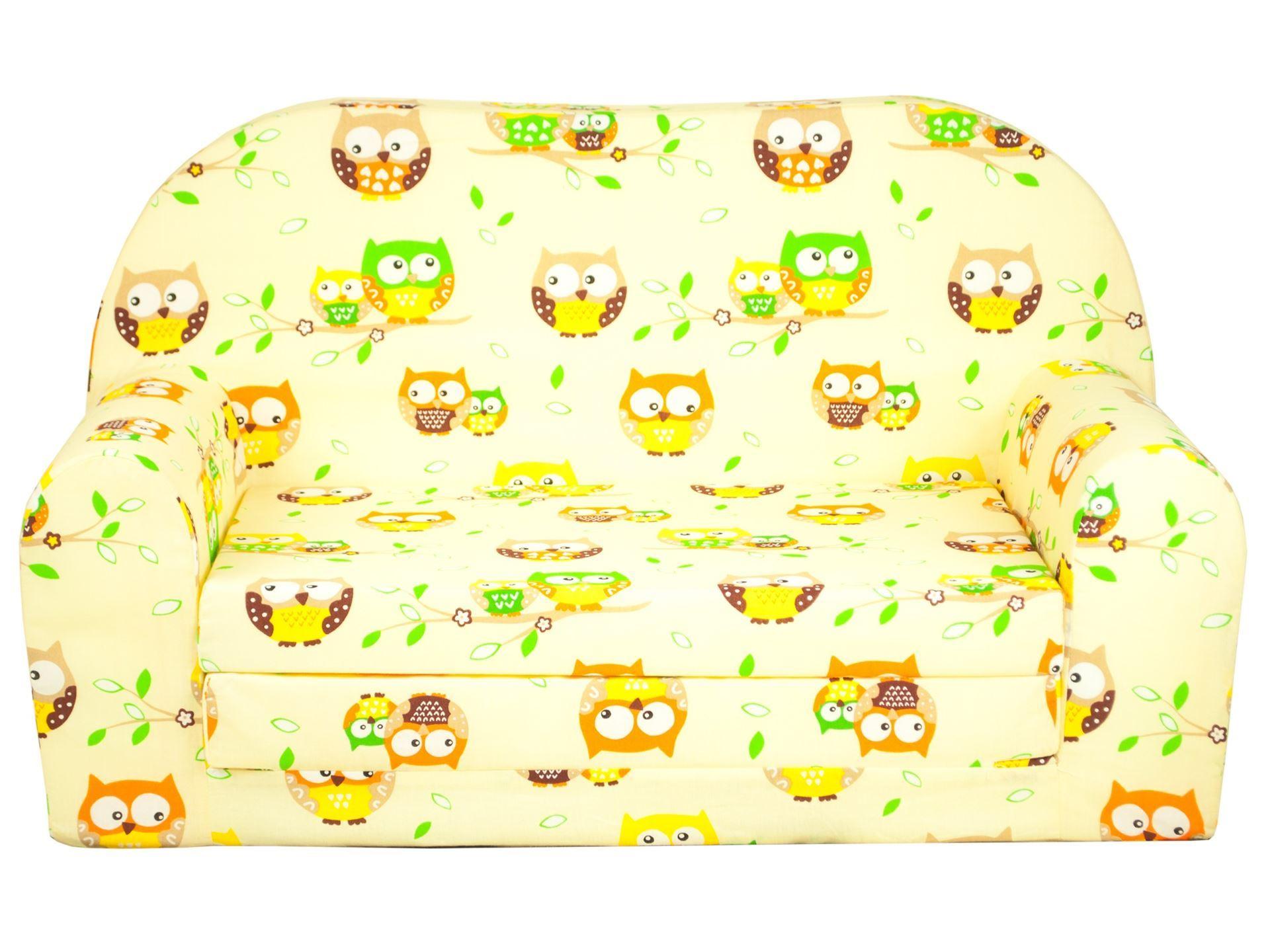 Rozkládací dětská mini pohovka Sovičky - Žlutá