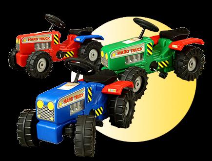 Dětský šlapací traktor s vlečkou - Modrý