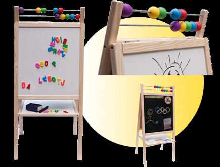 Dětská magnetická tabule 3v1 přírodní - výška 98 cm