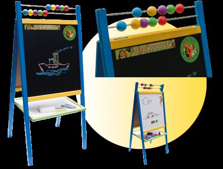 Dětská magnetická tabule 3v1 barevná - výška 98 cm
