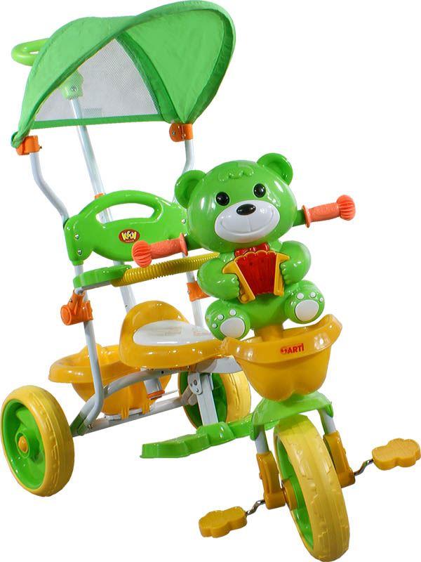 Dětská tříkolka s vodící tyčí Arti - Medvídek - Zelená