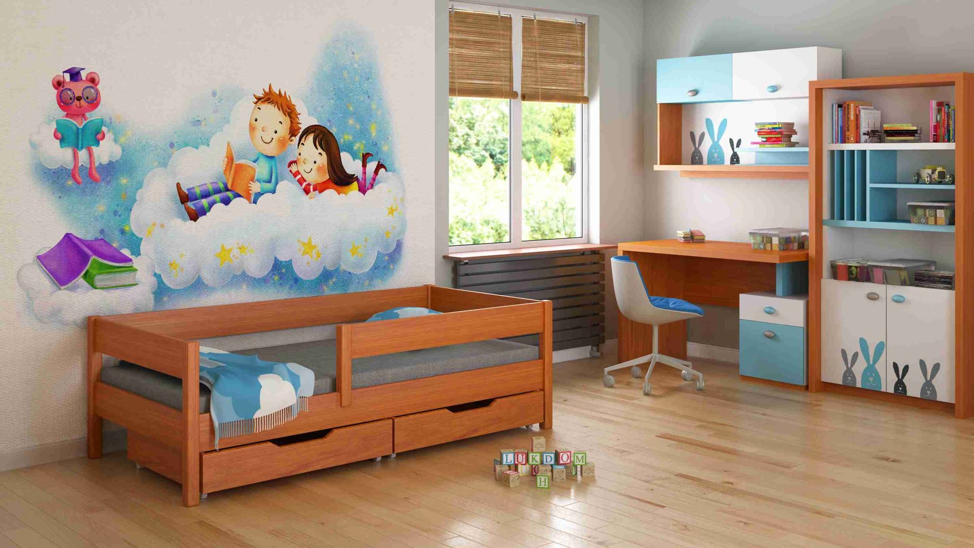 Dětská postel - MIX - 160x80cm Teak