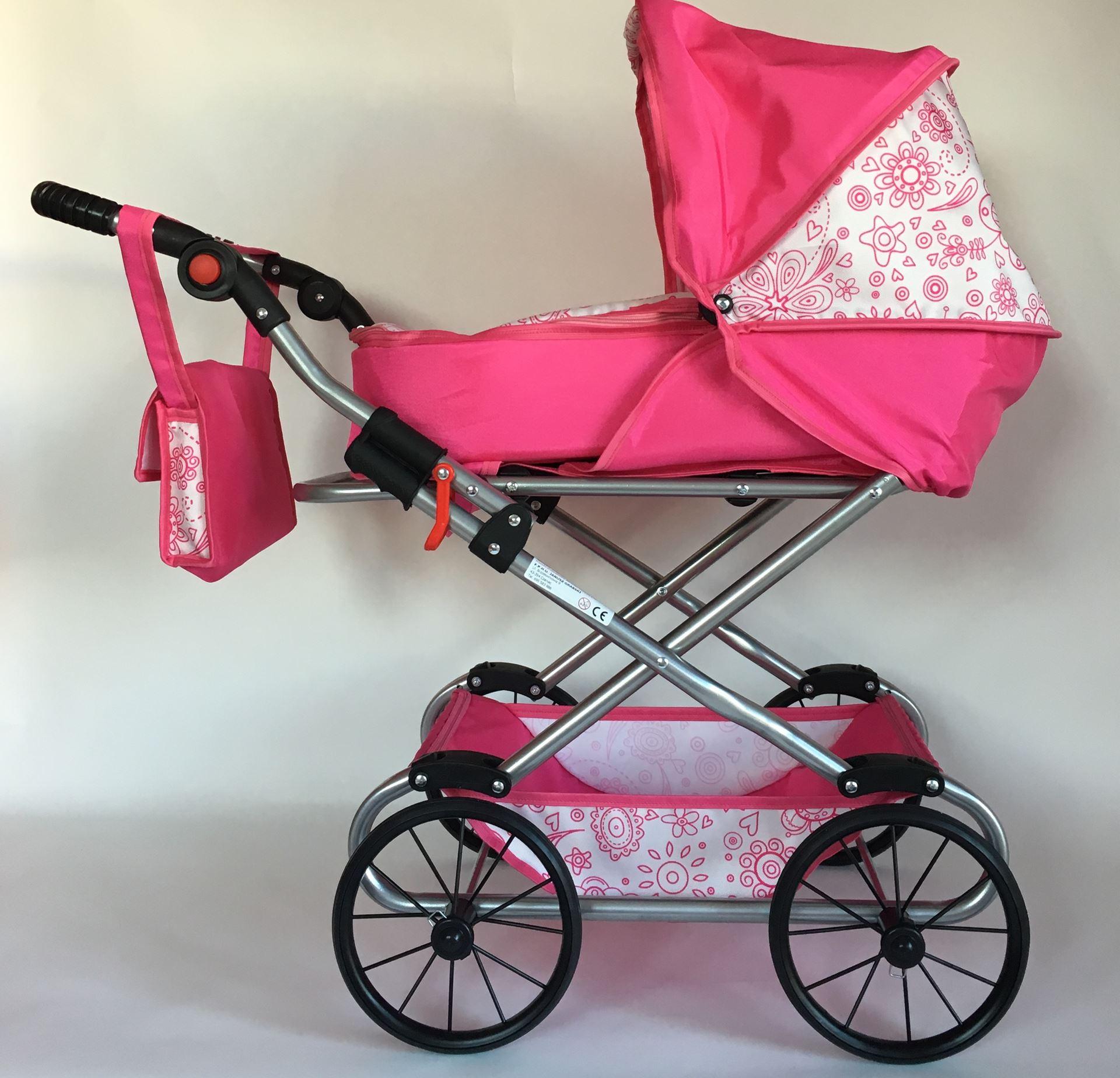Kočárek pro panenky NATÁLIE - Růžová