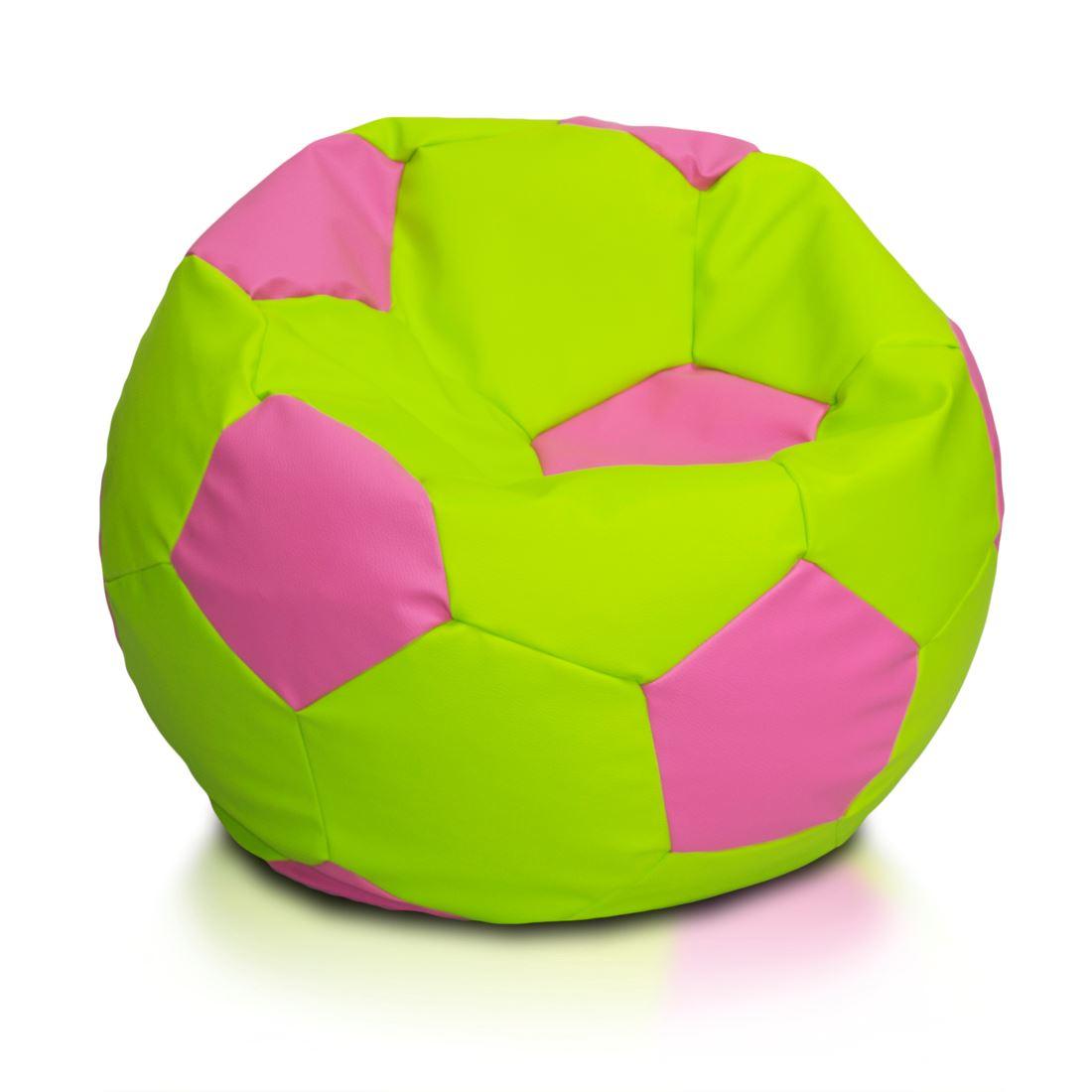 Sedací vak Fotbalový míč barevný vel.S - Eko kůže Růžová