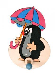 Obrázek Dřevěný 1 věšáček - Krteček s deštníkem