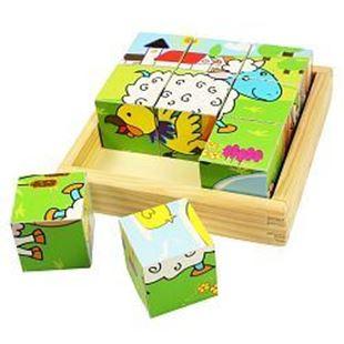 Obrázek Dřevěné obrázkové kostky kubusy - Zvířátka - 9 kostek