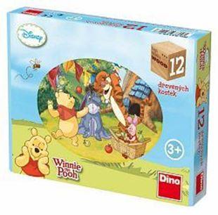 Obrázek Dřevěné obrázkové kostky - Kubus 12ks Medvídek Pú