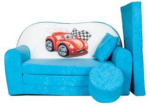 Obrázek Rozkládací dětská pohovka s bobkem a polštářkem Cars