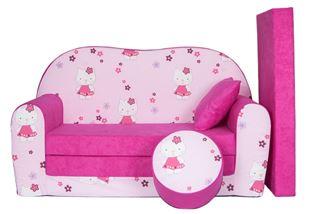 Obrázek Rozkládací dětská pohovka s bobkem a polštářkem Hello Kitty