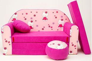 Obrázek Dětská pohovka s bobkem a polštářkem Hello Kitty H23+