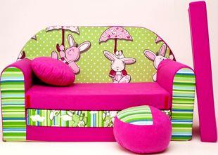 Obrázek Dětská pohovka s bobkem a polštářkem Zeleno-růžová - Zajíčci H18+