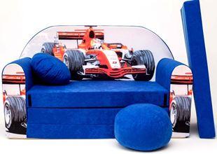 Obrázek Dětská pohovka s bobkem a polštářkem Formule Modrá C2+