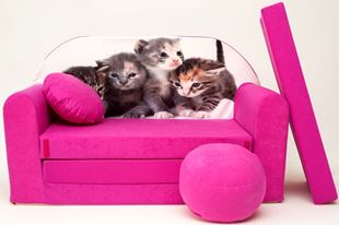 Obrázek Dětská pohovka s bobkem a polštářkem Koťátka - růžová H6+