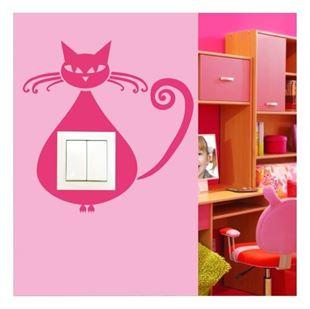 Obrázek Samolepící textilní ochrana vypínače - kočička č. 10 béžová