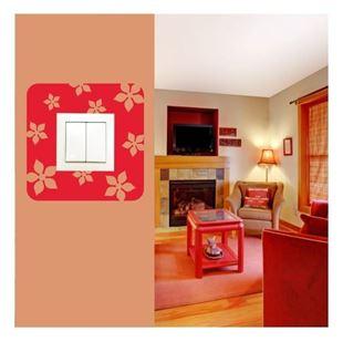 Obrázek Samolepící  textilní ochrana vypínače - jarní kvítí č. 10 bílá