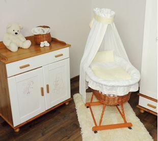 Obrázek Proutěný koš na miminko s bílo-smetanovou sadou povlečení