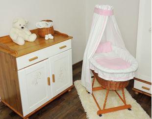 Obrázek Proutěný koš  pro miminko s růžovou sadou povlečení