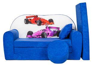 Obrázek Rozkládací dětská pohovka s bobkem a polštářkem Formule 2