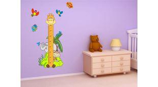 Obrázek Metr na stěnu - Žirafa se zvířátky