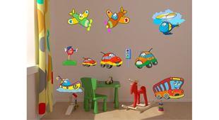 Obrázek Dopravní prostředky samolepka na zeď