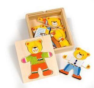 Obrázek Dřevěné oblékací puzzle v krabičce - Pan Medvěd
