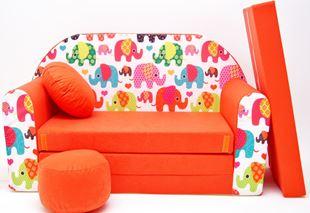 Obrázek Dětská pohovka Sloni - Oranžová F9