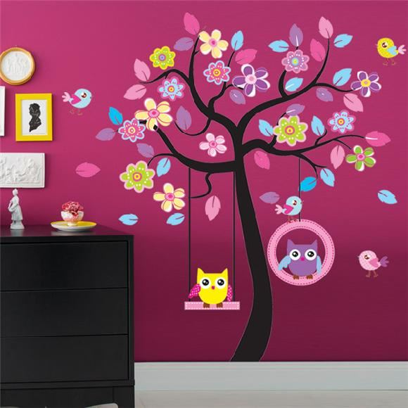 Strom a sovy na houpa ce samolepka na ze - Dibujos faciles para paredes ...