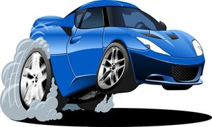 Obrázek Modré auto samolepka na zeď