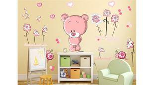 Obrázek Medvídek a kytičky samolepka na zeď