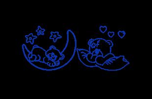 Obrázek Spící medvídci samolepka na zeď - Tmavě modrá L