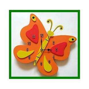 Obrázek Dětské dřevěné hodiny Motýl - Mix barev