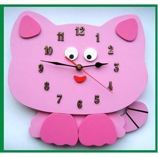 Obrázek Dětské dřevěné hodiny Kočka - Mix barev