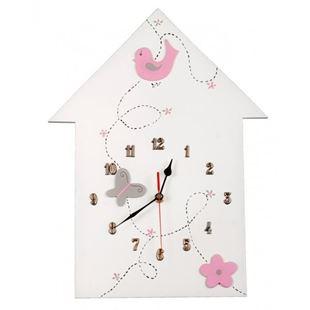 Obrázek Dětské dřevěné hodiny Domeček - Růžová